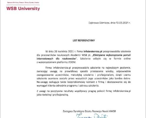 Referencje dla Infobrokerska.pl - Akademia WSB